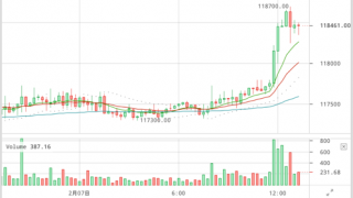 【ビットコイン相場】1BTC=119,308円