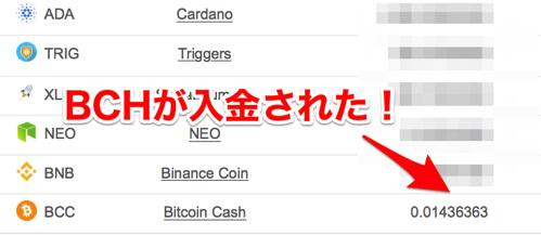 001 BCH入金
